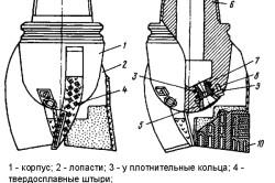 Схема трехлопастного долота