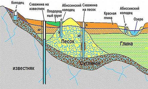 Варианты размещения абиссинского колодца